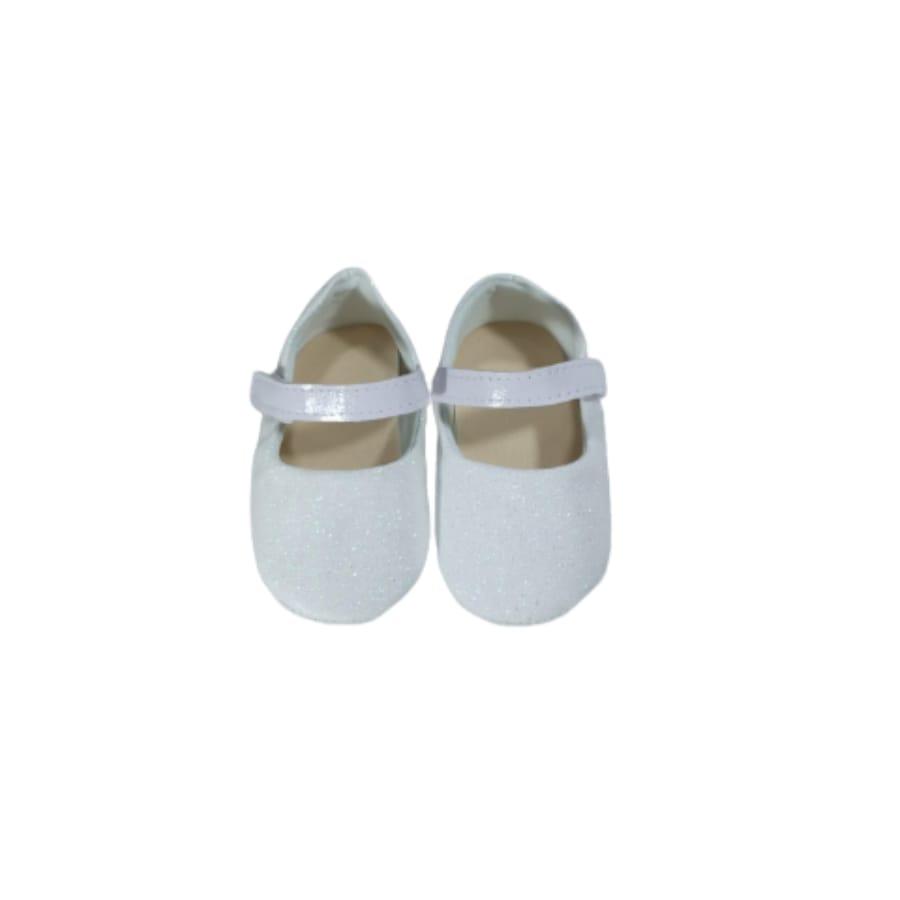 Sapatilha para Bebê Branca com Glíter é Velcro 13/14