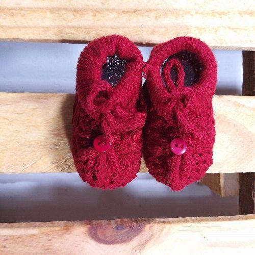 Sapatinho em Tricot  para Bebê Vermelho