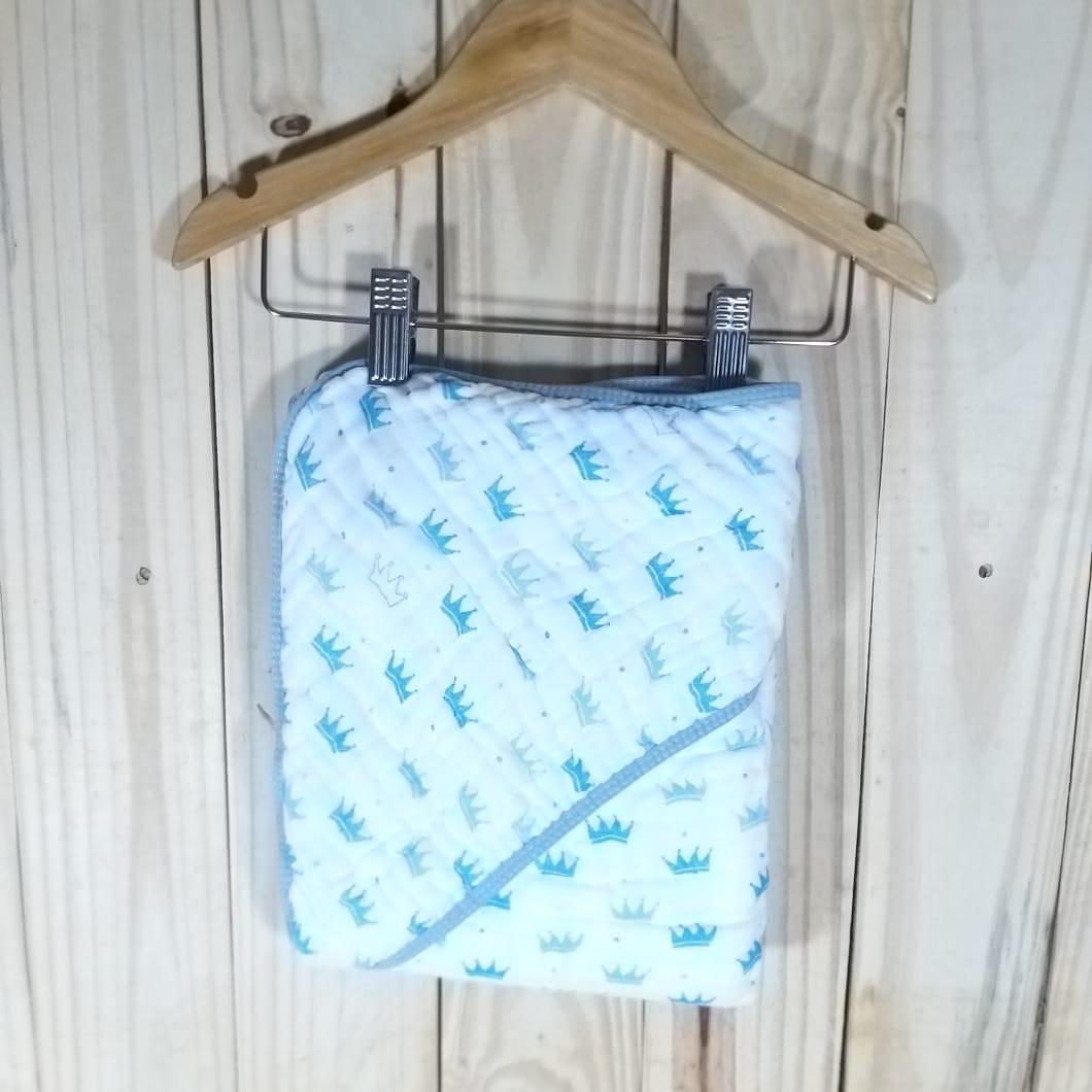 Toalha de Banho com Capuz para Bebê Tecido  de Fralda Azul