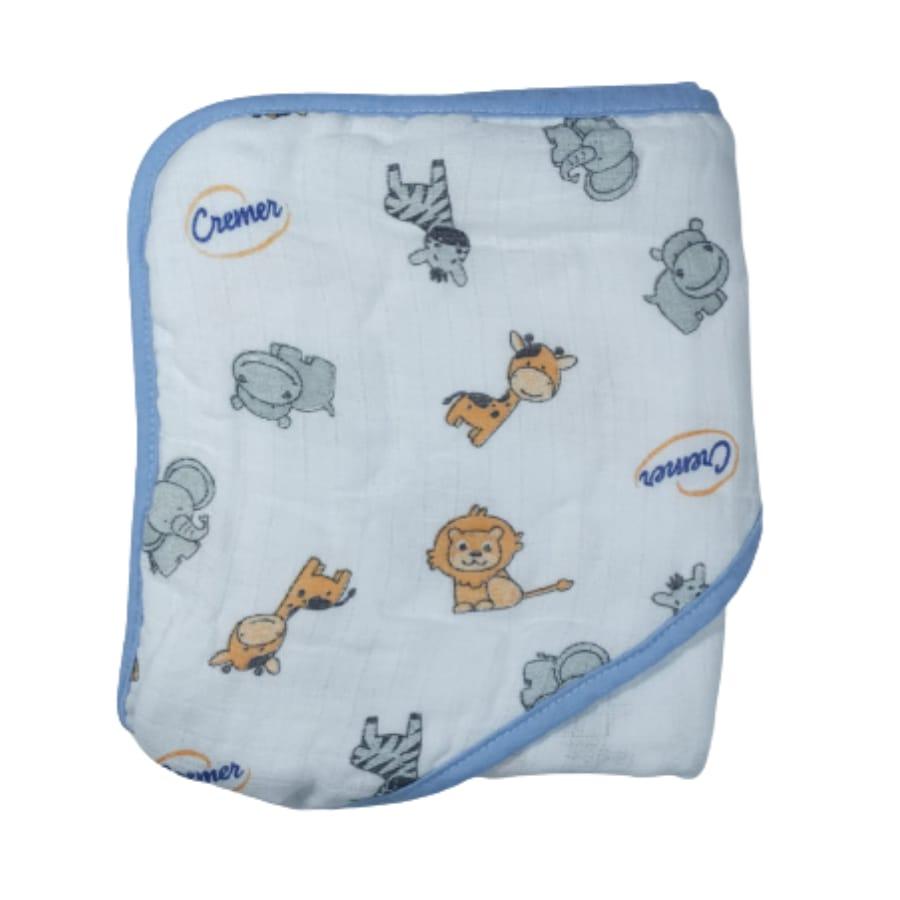 Toalha  de Banho com capuz para Bebê Tecido de Fralda Cremer 100% Algodão