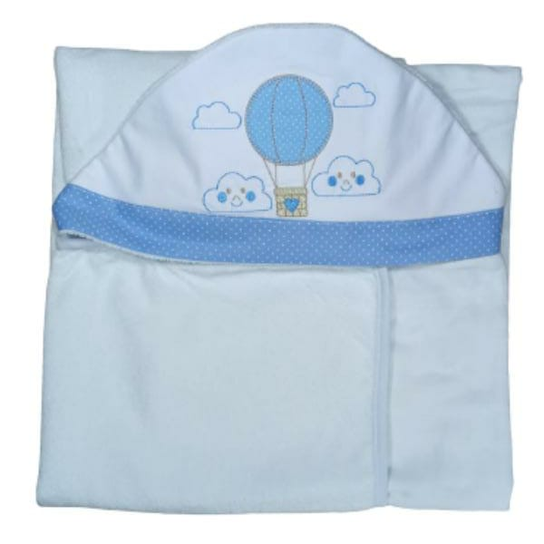 Toalha de Banho para Bebê Balão com Capuz Maxi Dupla