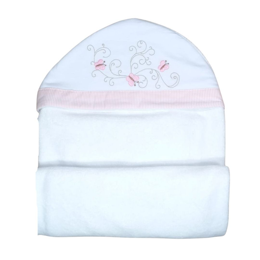 Toalha de Banho para Bebê Borboletas com Capuz Maxi Dupla