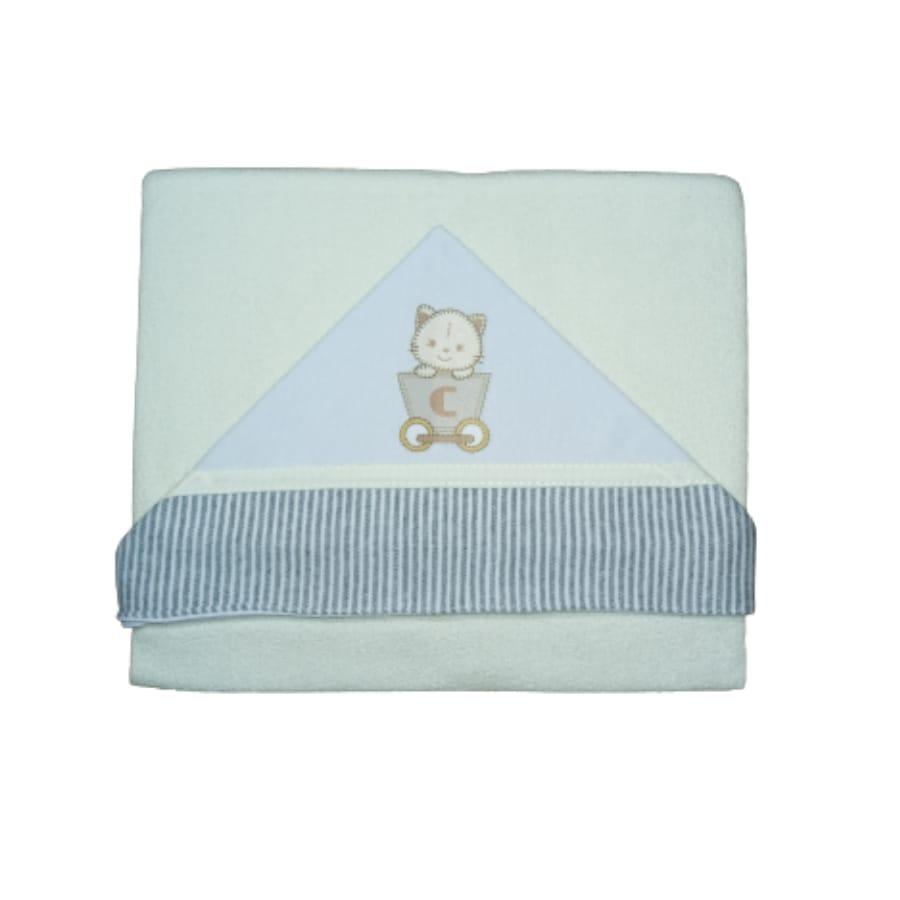 Toalha de Banho para Bebê com Capuz Bordado Bege