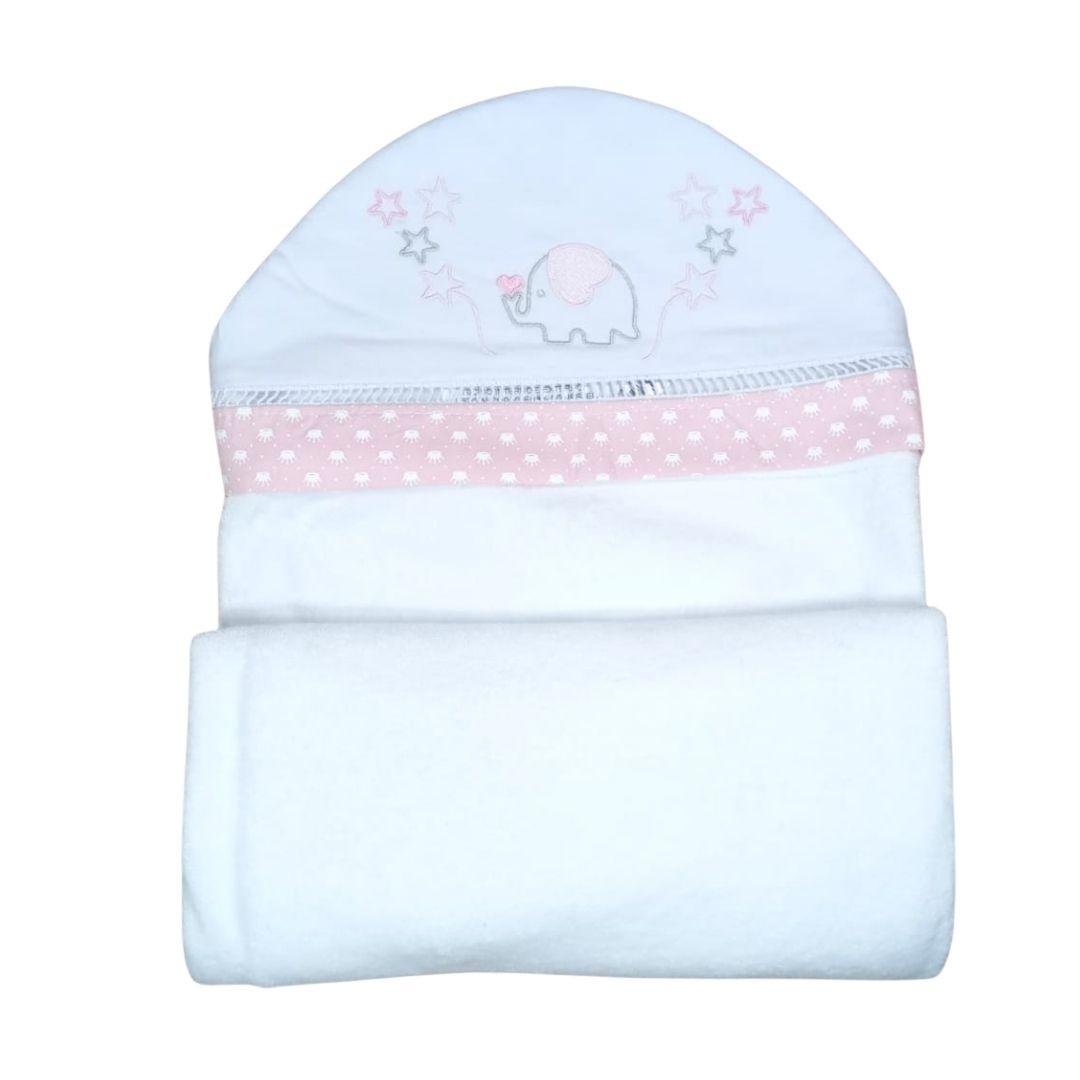 Toalha de Banho para Bebê Elefante com Capuz Maxi Dupla