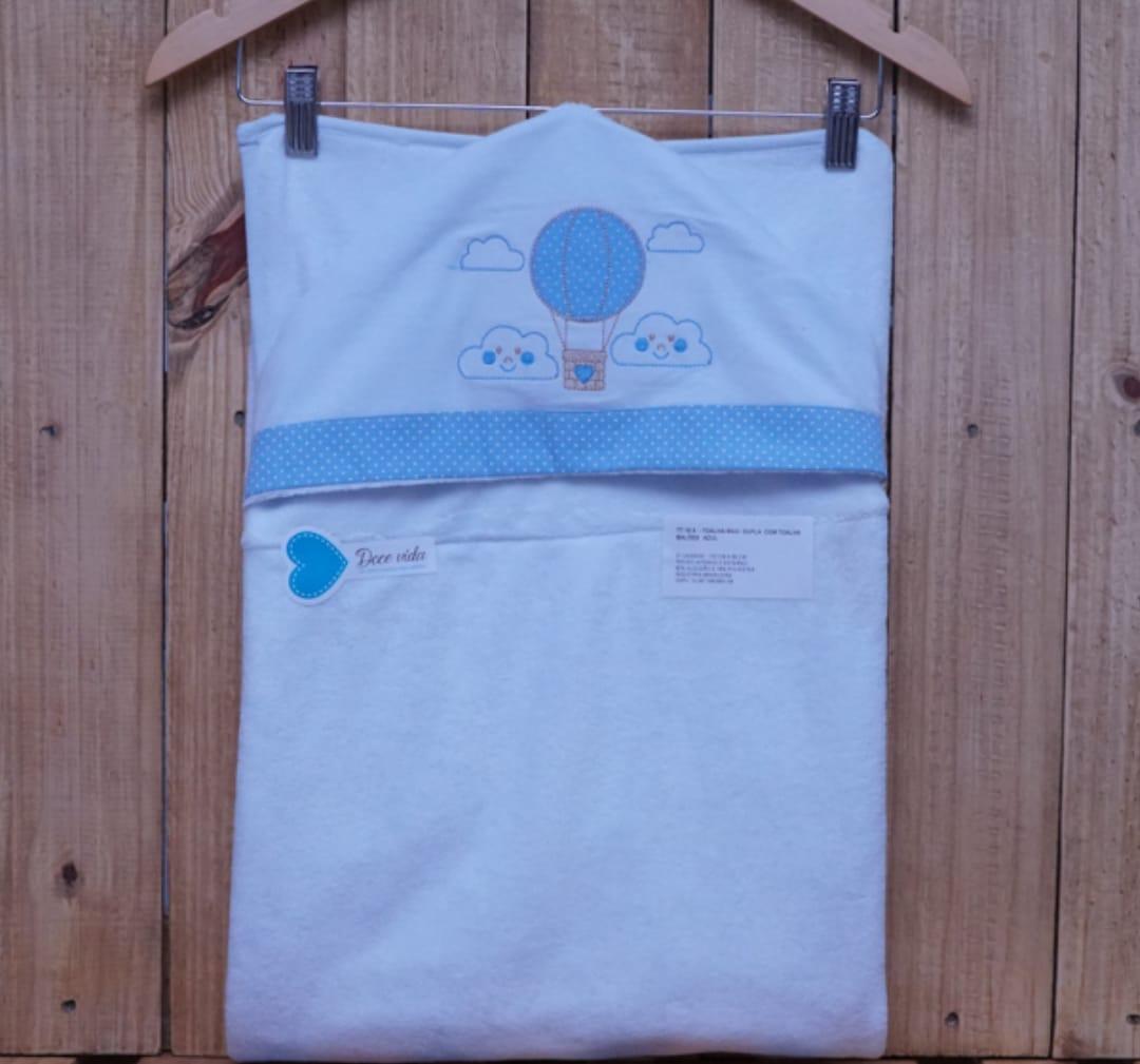 Toalha de Banho para Bebê Forrada com Capuz Balão Azul