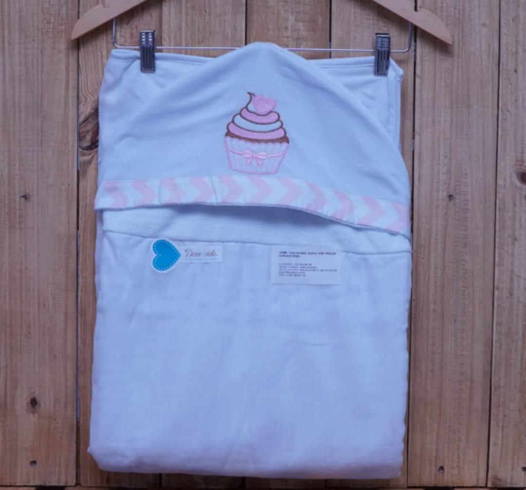Toalha de Banho para Bebê Forrada com Capuz Cupcake Rosa