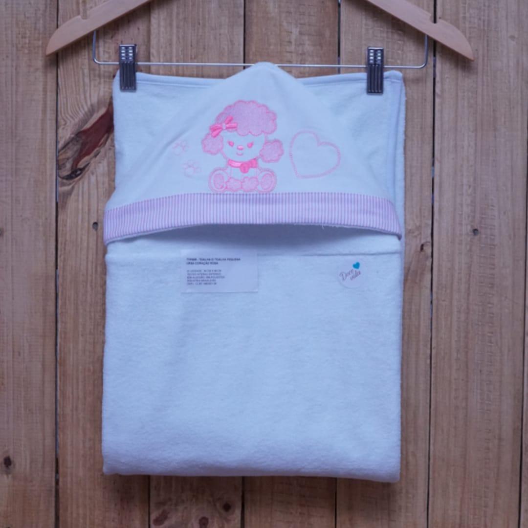 Toalha de Banho para Bebê Forrada com Capuz Ovelha Rosa