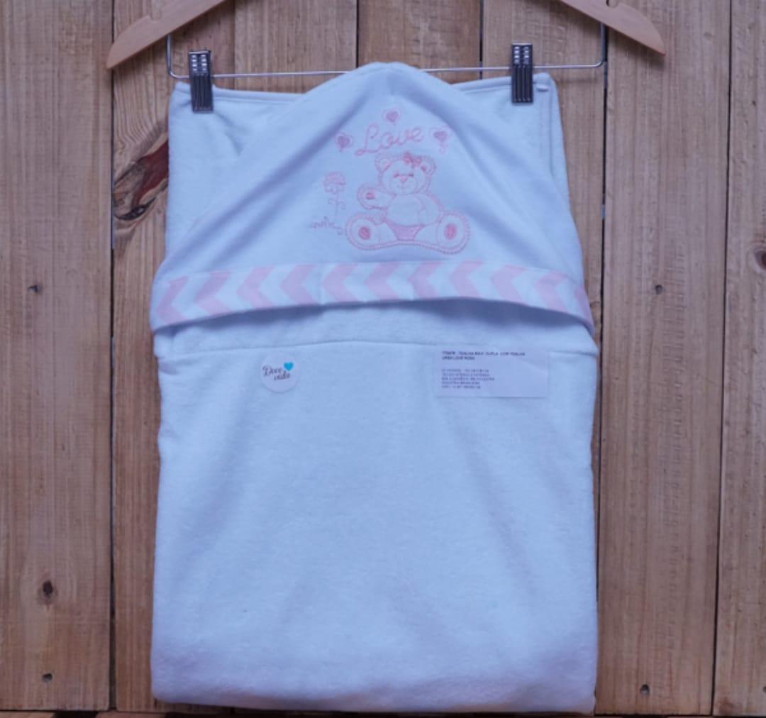 Toalha de Banho para Bebê Forrada com Capuz Ursa Rosa