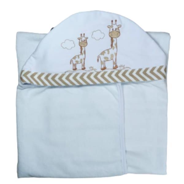 Toalha de Banho para Bebê Girafa com Capuz Maxi Dupla