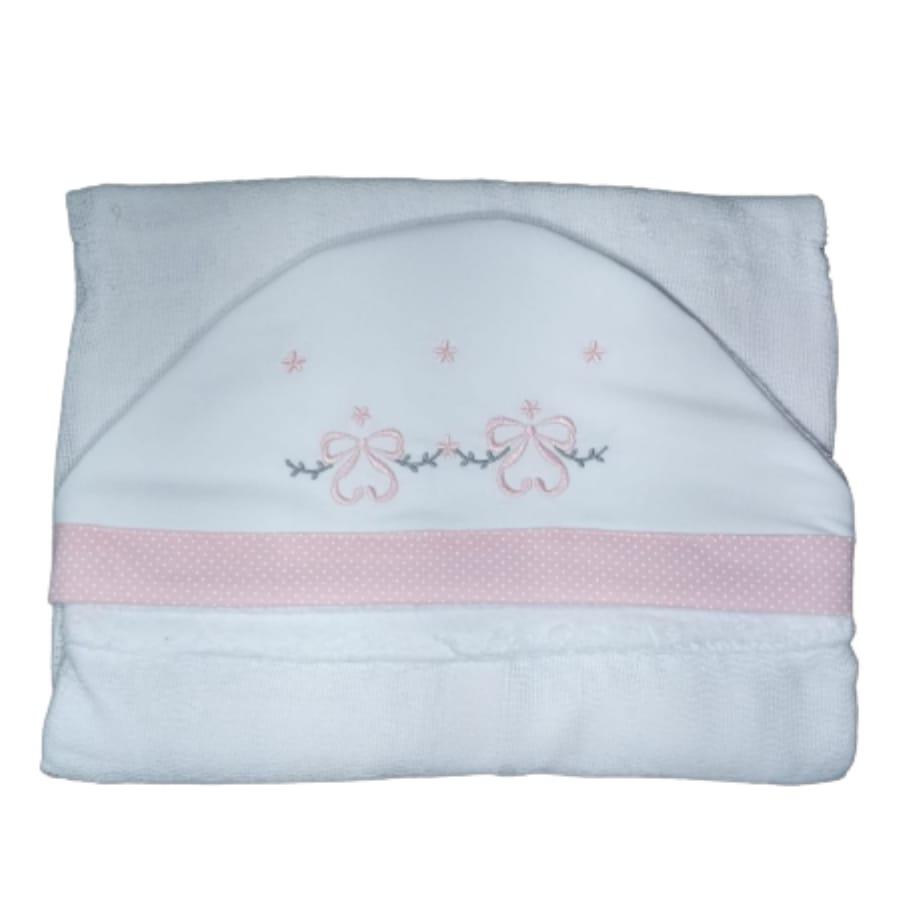 Toalha de Banho para Bebê Lacinho com Capuz Maxi Dupla