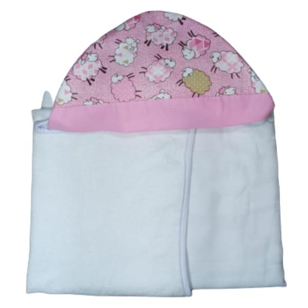 Toalha de Banho para Bebê Ovelhas com Capuz Maxi Dupla