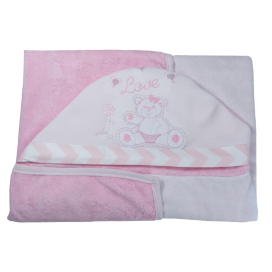 Toalha de Banho para Bebê Ursinha Love com Capuz Maxi Dupla