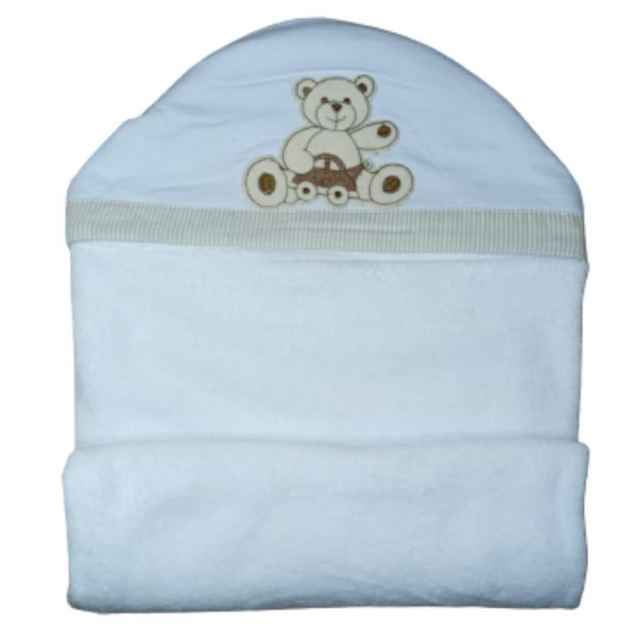Toalha de Banho para Bebê Urso Carrinho com Capuz Maxi Dupla