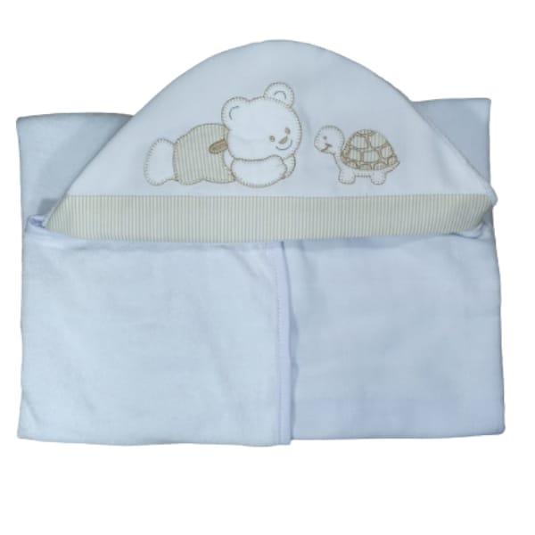 Toalha de Banho para Bebê Urso e Tartaruga com Capuz Maxi Dupla