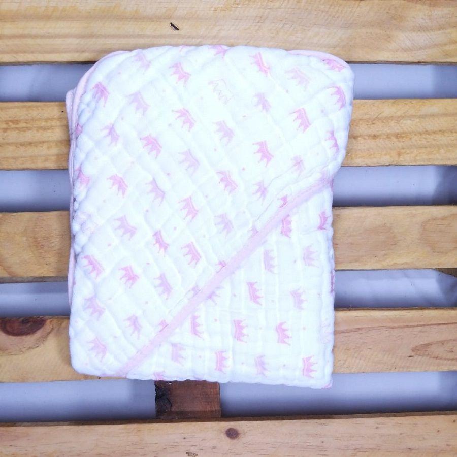 Toalha de Banho com Capuz para Bebê Tecido de Fralda Rosa