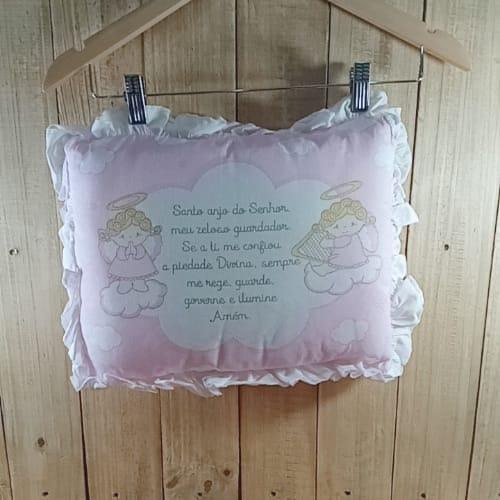 Travesseiro para Bebê Anjinho da Guarda Rosa
