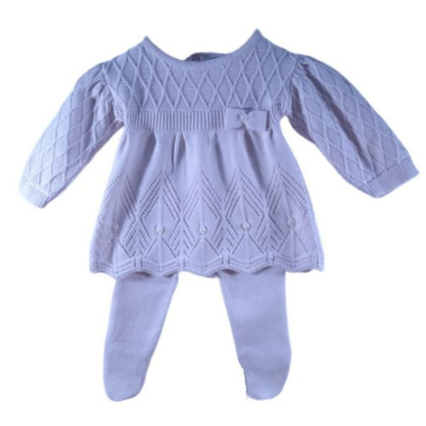 Vestido em Tricot com Lacinho e Meia Calça Rosa Baby