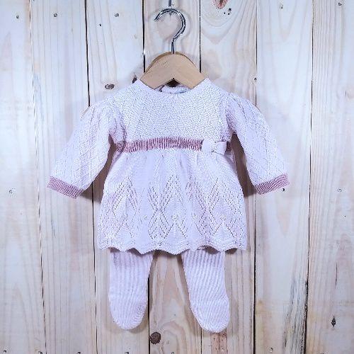 Vestido em Tricot Rendado com Meia Calça Rosa Baby
