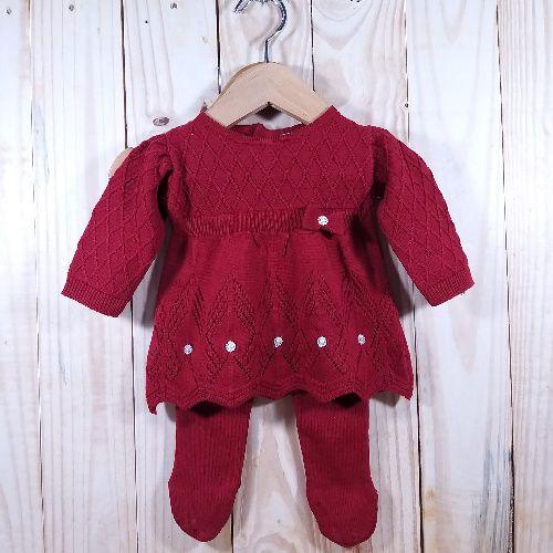 Vestido em Tricot Rendado com Meia Calça Vermelho