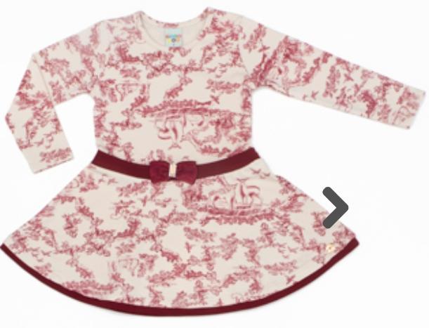 Vestido Infantil Cotton Amendoa Estampado