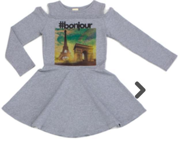 Vestido Infantil Manga Longa  Cotton Mescla