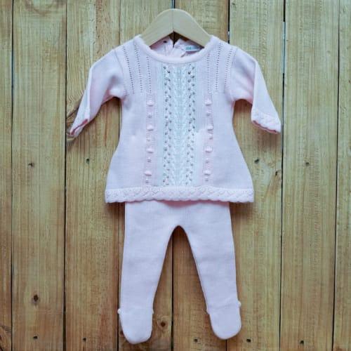 Vestido para Bebê em Tricot Rendado com Pérola e  Meia Calça Rosa