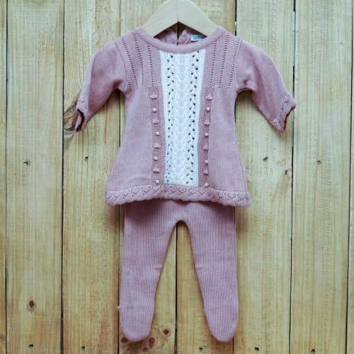 Vestido para Bebê em Tricot Rendado com Pérola e  Meia Calça Rose