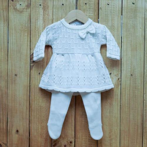 Vestido para Bebê em Tricot Rendado com Pérola na Gola com Detalhes na Frente E Meia Calça OFF White