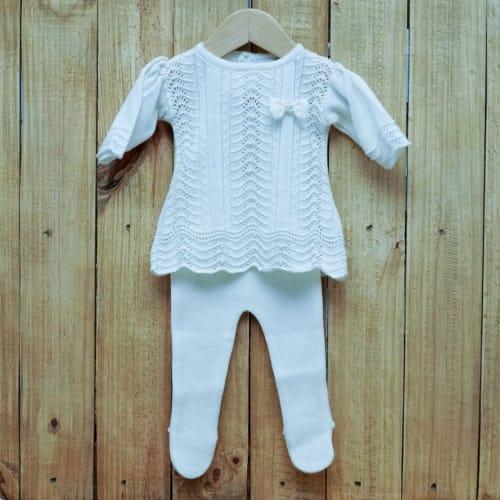 Vestido para Bebê em Tricot Rendado com Pérolas na Frente E Meia Calça OFF White