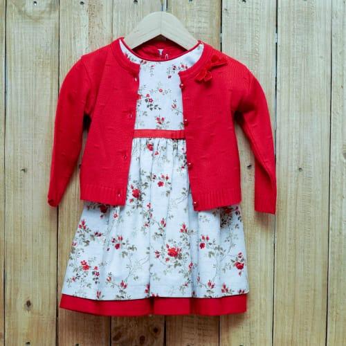 Vestido para Bebê Estampado Com Manga Cuta e Casaco Vermelho