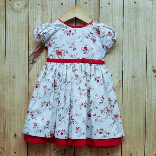Vestido para Bebê Estampado Com Manga Curta  Vermelho