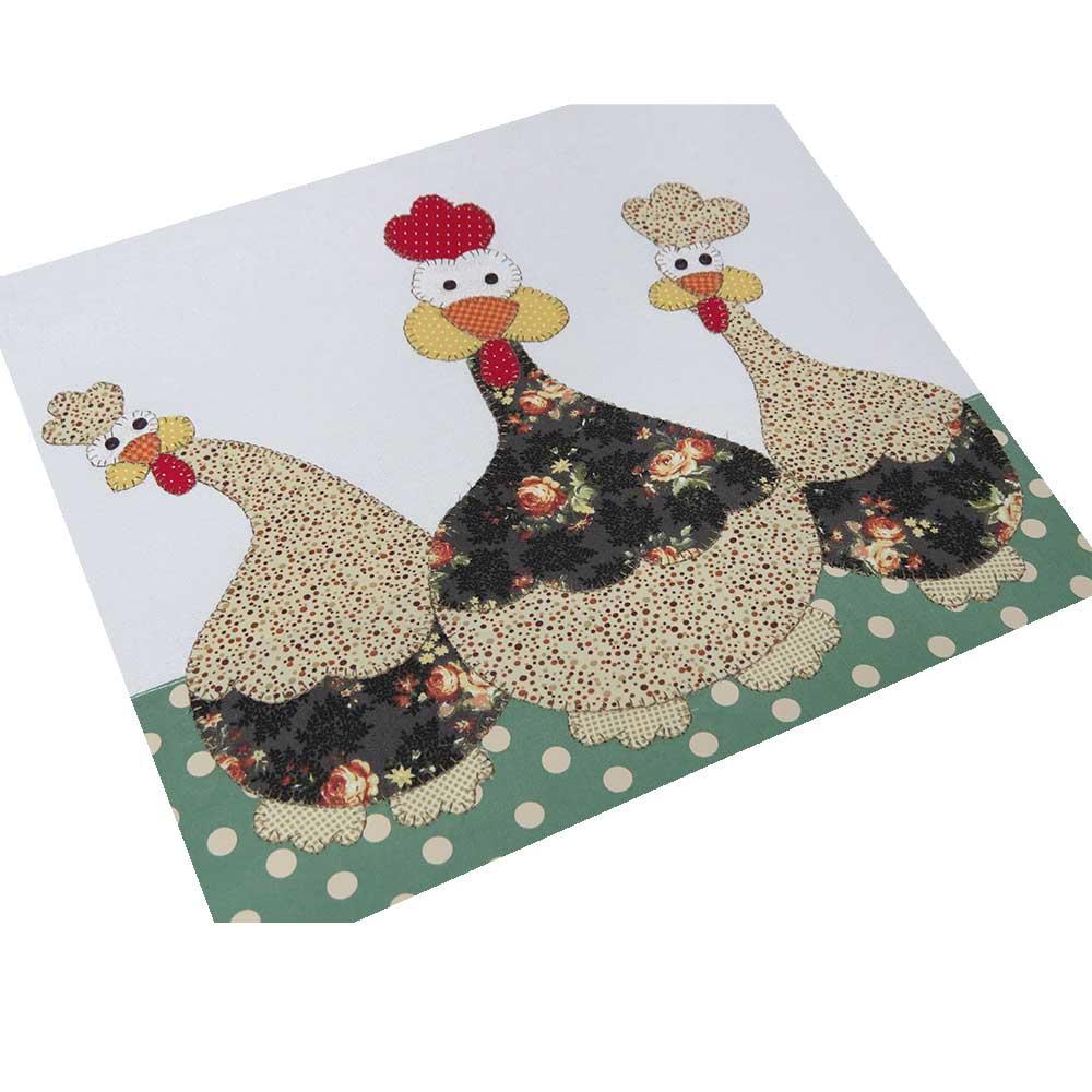 Pano de copa em patch aplique com bordado em ponto caseado. Tema galinha de angola
