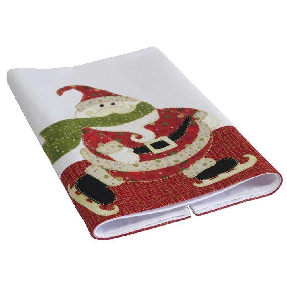 Pano de copa Natal  em patch aplique com bordado em ponto caseado. Papai noel patins.
