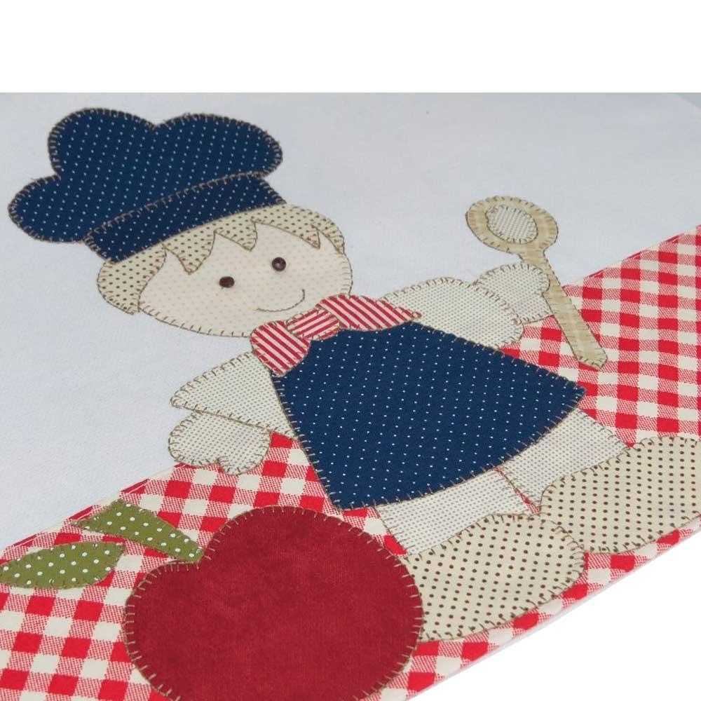 Pano de prato em pach aplique bordado em ponto caseado - Cozinheiro