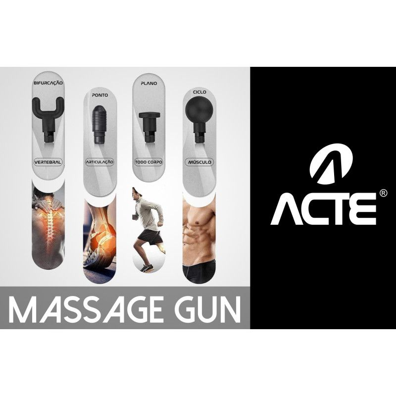 Massageador Profissional Miofascial Massage Gun Preto Acte