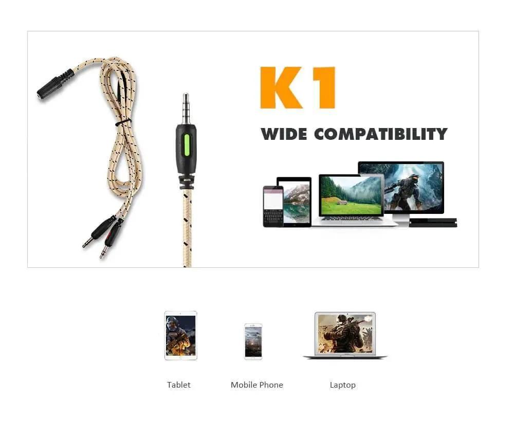 Fone De Ouvido Headset Gamer Onikuma K1-b Camuflado Cinza Celular Ps4 Xbox Pc