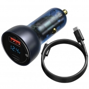 Carregador Veicular Baseus USB/USB tipo-C 65W Com Cabo Dual C