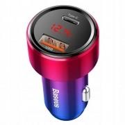 Carregador Veicular Turbo PD Baseus Magic 6a 45w Usb Qc 3.0 Usbc QC4.0 Vermelho