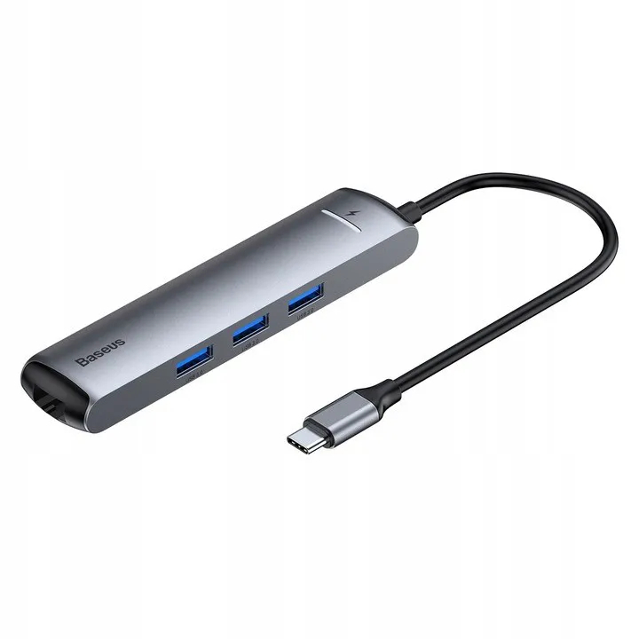 Adaptador Hub Baseus Carregamento Rápido 3xUSB 3.0 TipoC, RJ45, HDMI 4K