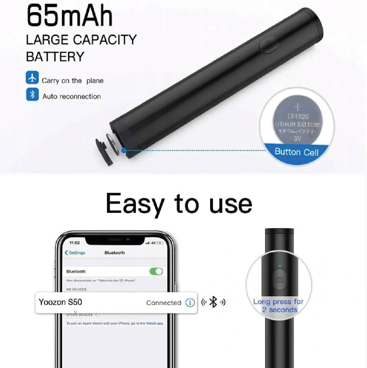 Bastão de Selfie Rock Bluetooth Magic Flaute Com Flash Led