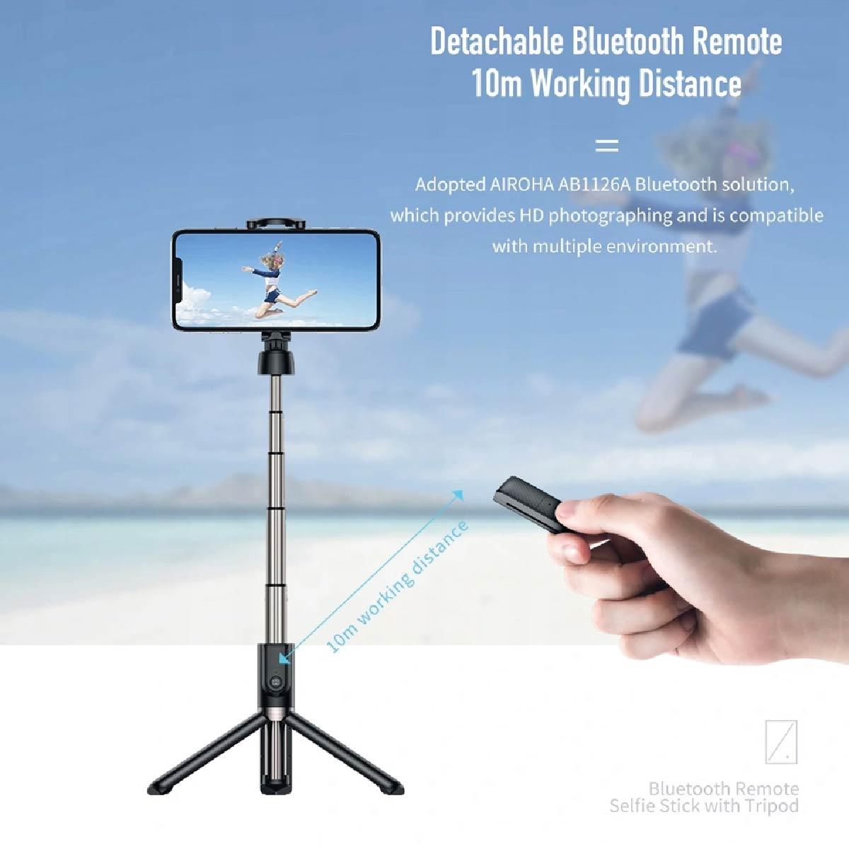 Bastão De Selfie Rock Com Controle Bluetooth Tripé 360