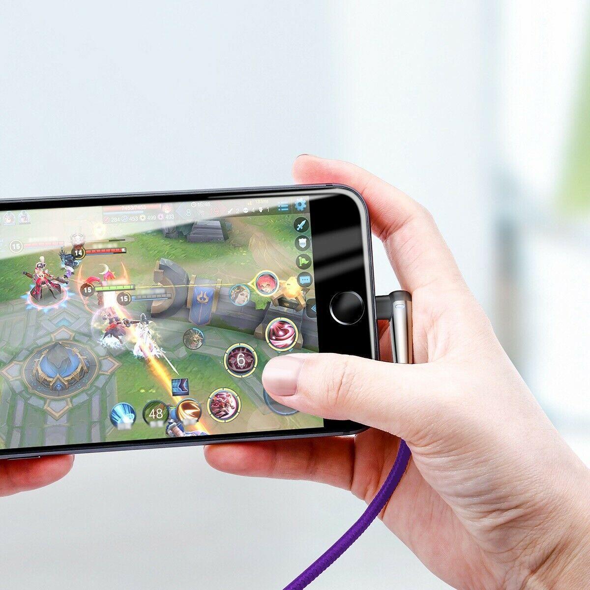 Cabo iPhone Original Baseus em L Gamer Azul 1m