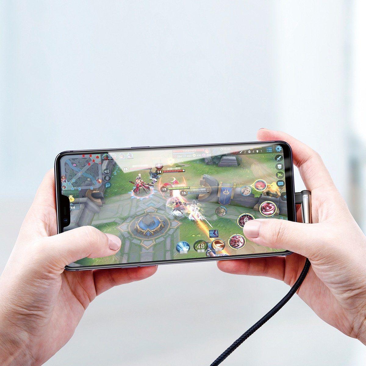 Cabo iPhone Original Baseus em L Gamer Preto 1m