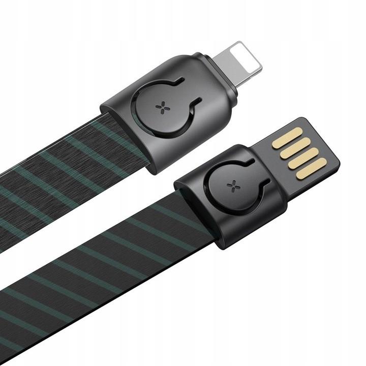 Cabo Para IPhone 85 cm 2,4 A Baseus 2 em 1 + cabo USB Cordão Listrado