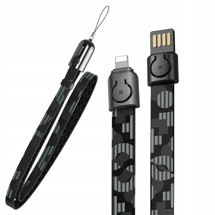Cabo Para IPhone 85 cm 2,4 A Baseus 2 em 1 + cabo USB Cordão Preto Pop