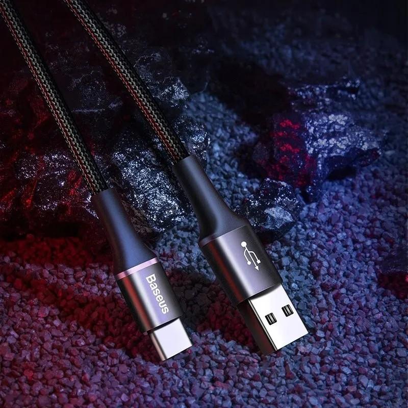 Cabo Reforçado Tipo C Q.C 3.0  Baseus Halo 3 Metros Preto 2A com LED