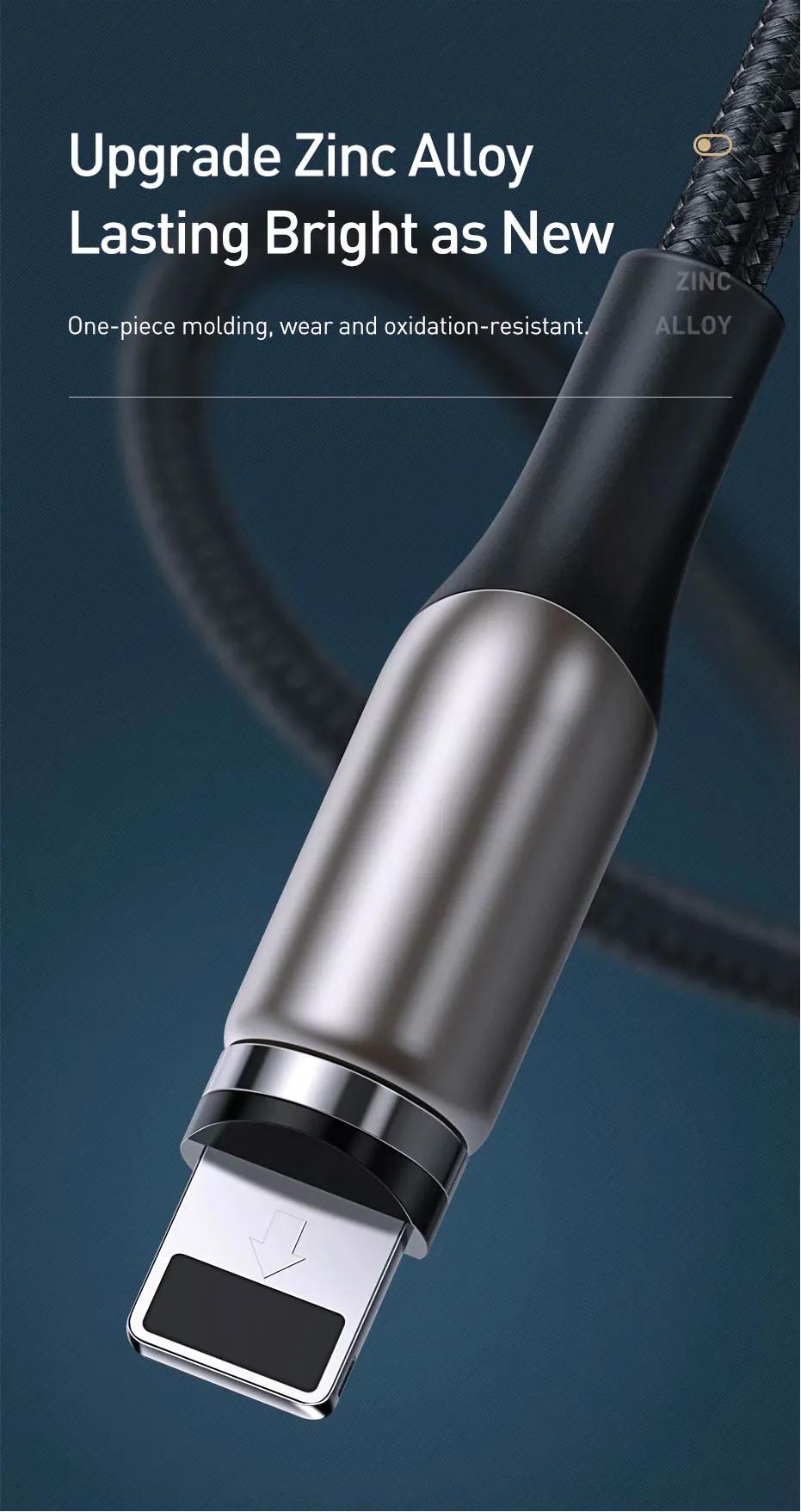Cabo Usb Para Iphone Magnético Baseus Legitimo Zinc 2A 1 Metro preto (Ref. CALXC-H01)