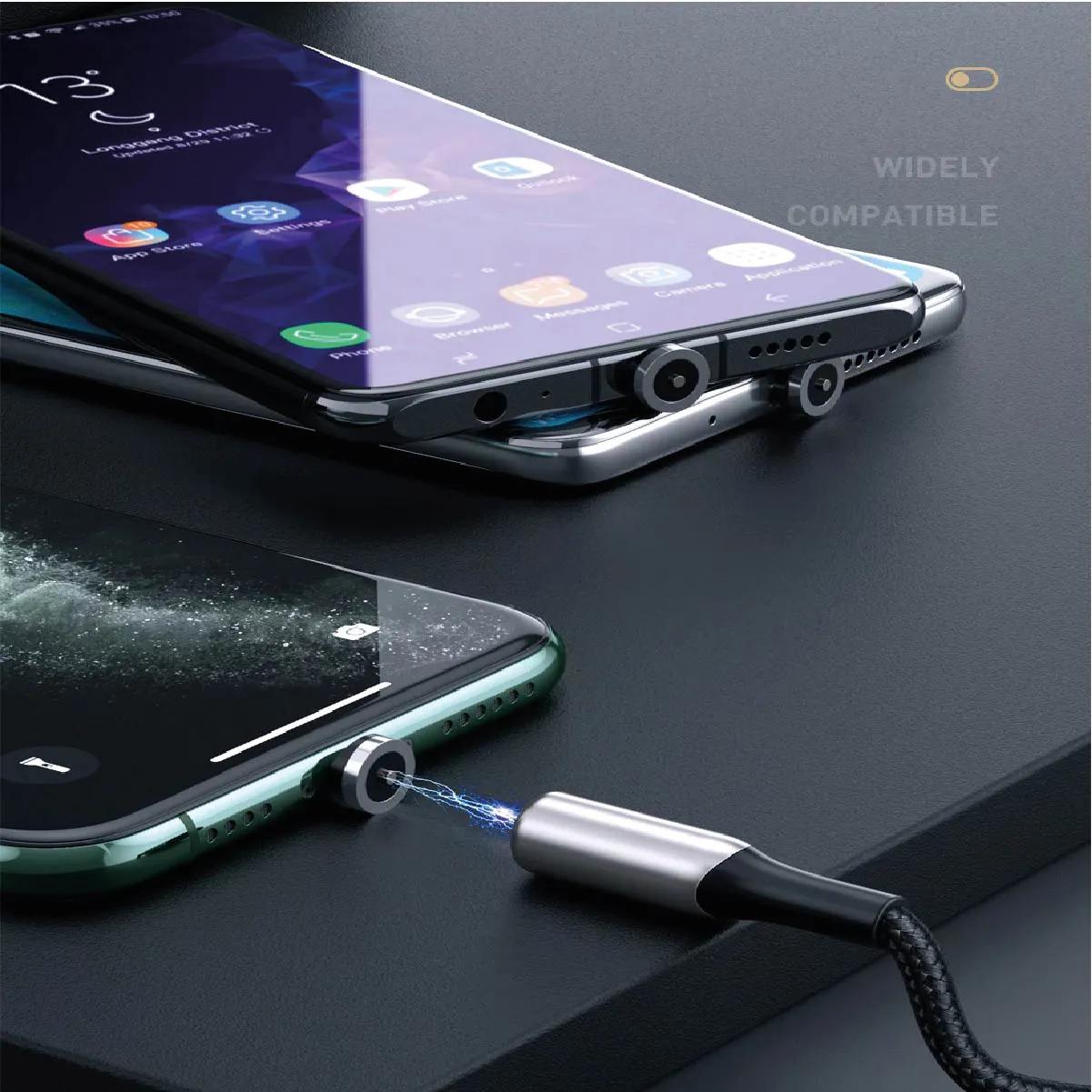 Cabo Usb Para Iphone Magnético Baseus Legitimo Zinc 2A 2 Metros Preto