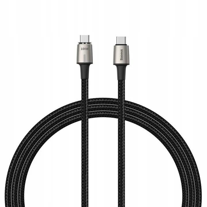 Cabo USB Tipo C Dual Magnético de Zinco 1,2 Metros Led Baseus Dual USB Tipo C 100W 20V 5A