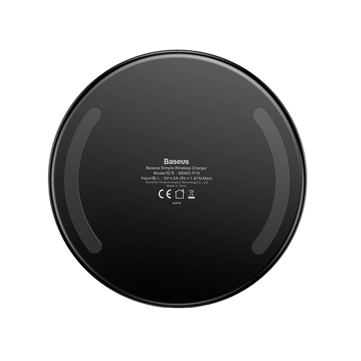 Carregador Baseus Sem Fio Wireless 10W Preto Iphone Samsung Motorola